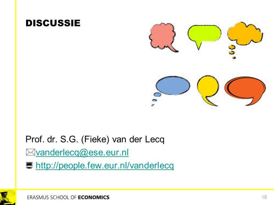 DISCUSSIE Prof. dr. S.G. (Fieke) van der Lecq  vanderlecq@ese.eur.nl vanderlecq@ese.eur.nl  http://people.few.eur.nl/vanderlecq http://people.few.eu