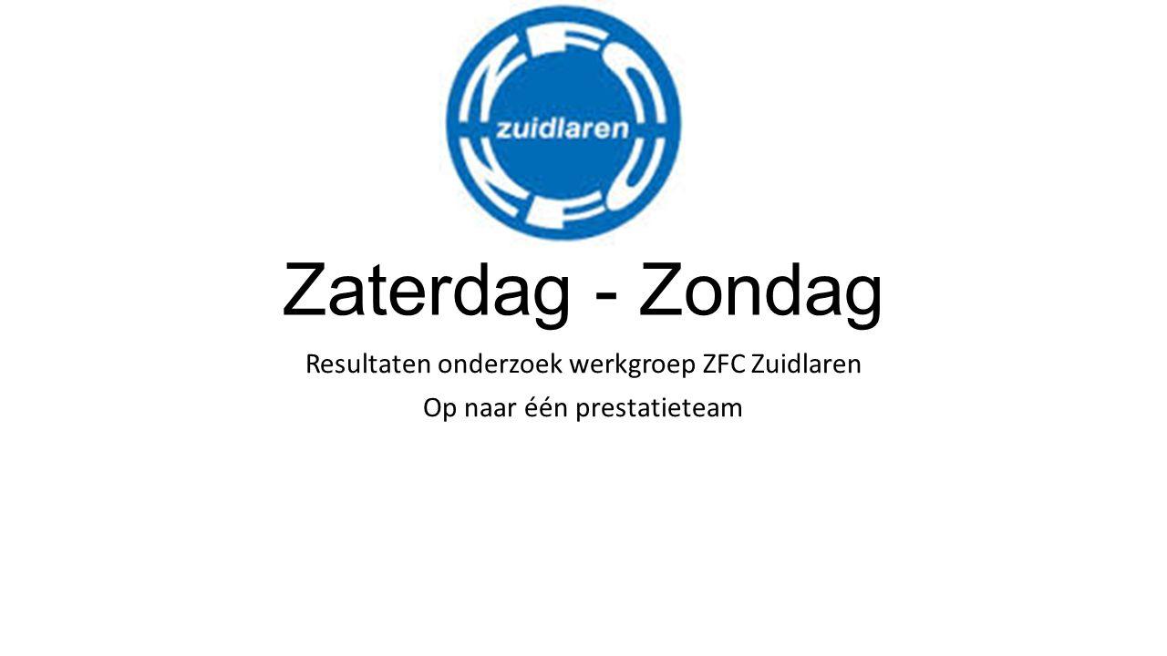 Zaterdag - Zondag Resultaten onderzoek werkgroep ZFC Zuidlaren Op naar één prestatieteam