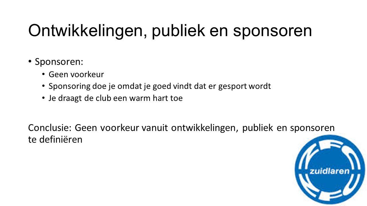 Ontwikkelingen, publiek en sponsoren Sponsoren: Geen voorkeur Sponsoring doe je omdat je goed vindt dat er gesport wordt Je draagt de club een warm hart toe Conclusie: Geen voorkeur vanuit ontwikkelingen, publiek en sponsoren te definiëren