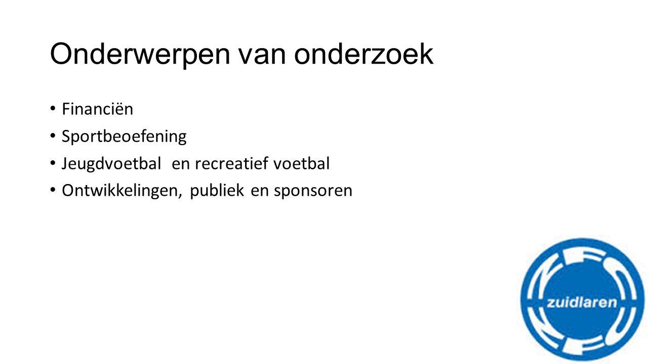 Onderwerpen van onderzoek Financiën Sportbeoefening Jeugdvoetbal en recreatief voetbal Ontwikkelingen, publiek en sponsoren