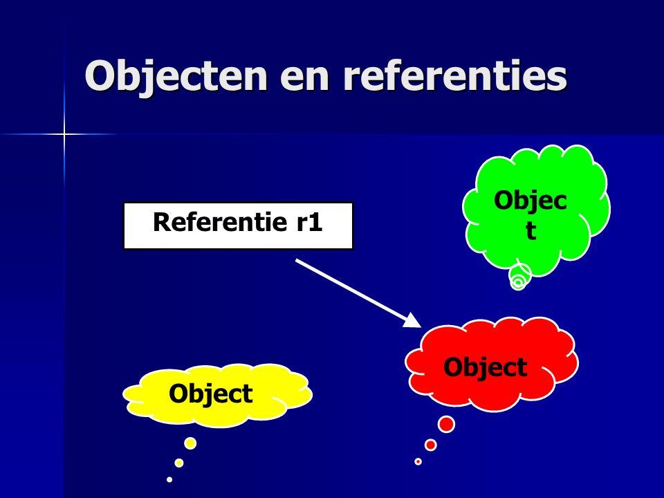 Objecten en referenties Referentie r1 Object