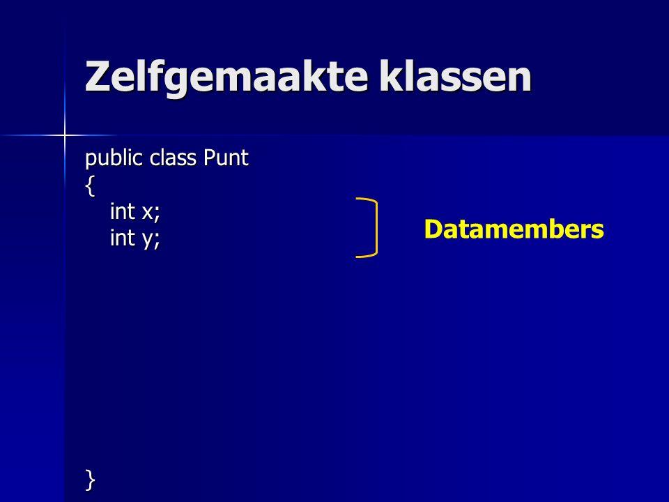 Zelfgemaakte klassen public class Punt { int x; int y; } Datamembers