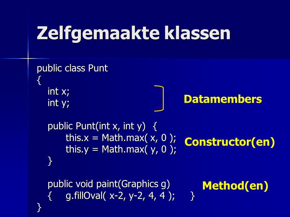 Zelfgemaakte klassen public class Punt { int x; int y; public Punt(int x, int y){ this.x = Math.max( x, 0 ); this.y = Math.max( y, 0 ); } public void paint(Graphics g) {g.fillOval( x-2, y-2, 4, 4 ); } } Datamembers Constructor(en) Method(en)