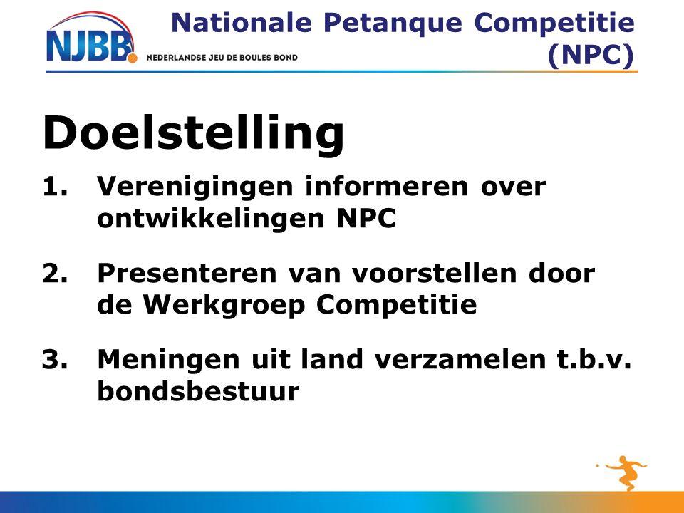 Doelstelling 1.Verenigingen informeren over ontwikkelingen NPC 2.Presenteren van voorstellen door de Werkgroep Competitie 3.Meningen uit land verzamelen t.b.v.
