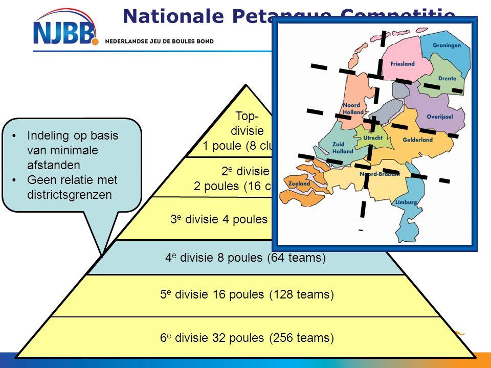 Nationale Petanque Competitie (NPC) 2 e divisie 2 poules (16 clubs) 3 e divisie 4 poules (32 clubs) 4 e divisie 8 poules (64 teams) 5 e divisie 16 pou