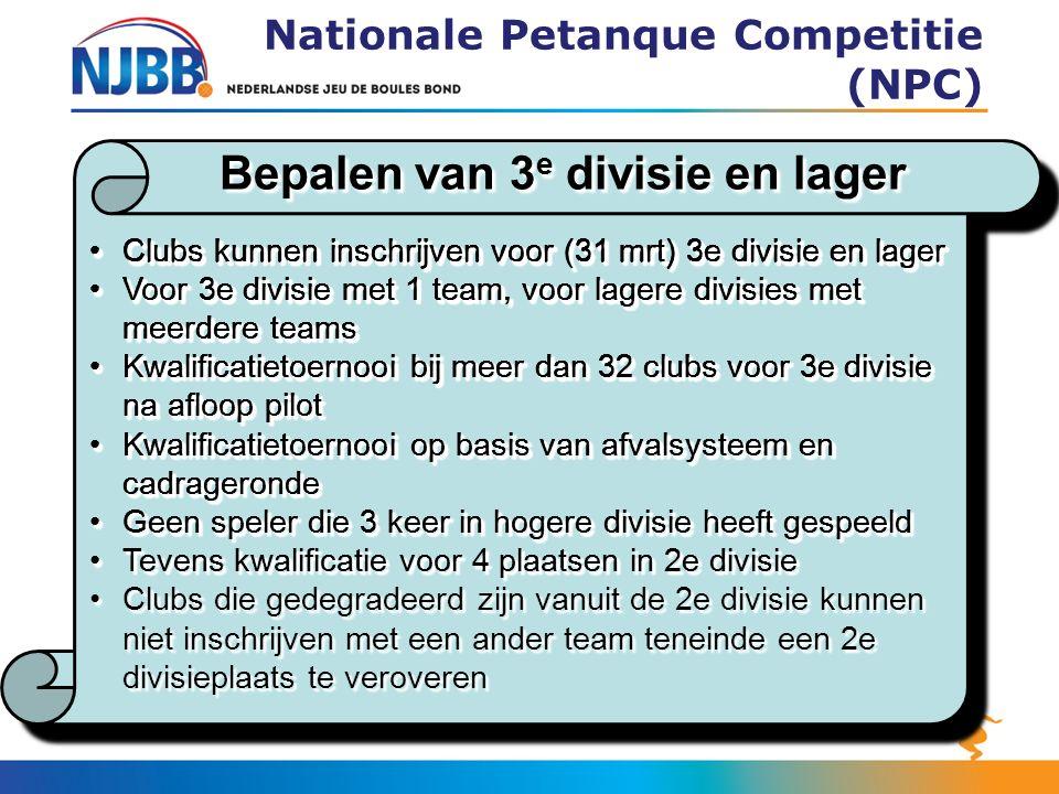 Bepalen van 3 e divisie en lager Nationale Petanque Competitie (NPC) Clubs kunnen inschrijven voor (31 mrt) 3e divisie en lagerClubs kunnen inschrijve