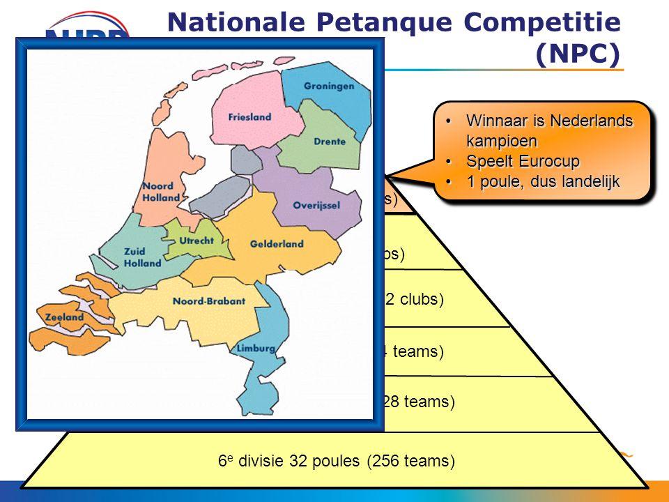 Nationale Petanque Competitie (NPC) Winnaar is Nederlands kampioenWinnaar is Nederlands kampioen Speelt EurocupSpeelt Eurocup 1 poule, dus landelijk1 poule, dus landelijk Winnaar is Nederlands kampioenWinnaar is Nederlands kampioen Speelt EurocupSpeelt Eurocup 1 poule, dus landelijk1 poule, dus landelijk 2 e divisie 2 poules (16 clubs) 3 e divisie 4 poules (32 clubs) 4 e divisie 8 poules (64 teams) 5 e divisie 16 poules (128 teams) 6 e divisie 32 poules (256 teams) Top- divisie 1 poule (8 clubs)