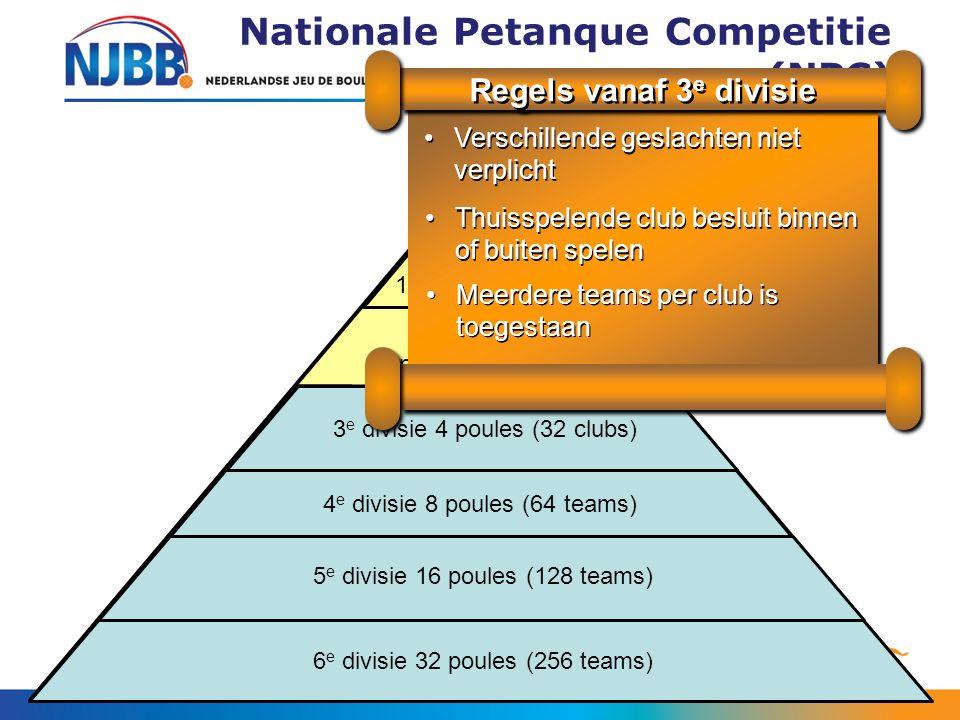 Nationale Petanque Competitie (NPC) 2 e divisie 2 poules (16 clubs) 3 e divisie 4 poules (32 clubs) 4 e divisie 8 poules (64 teams) 5 e divisie 16 poules (128 teams) 6 e divisie 32 poules (256 teams) Top- divisie 1 poule (8 clubs) Verschillende geslachten niet verplichtVerschillende geslachten niet verplicht Regels vanaf 3 e divisie Thuisspelende club besluit binnen of buiten spelenThuisspelende club besluit binnen of buiten spelen Meerdere teams per club is toegestaanMeerdere teams per club is toegestaan