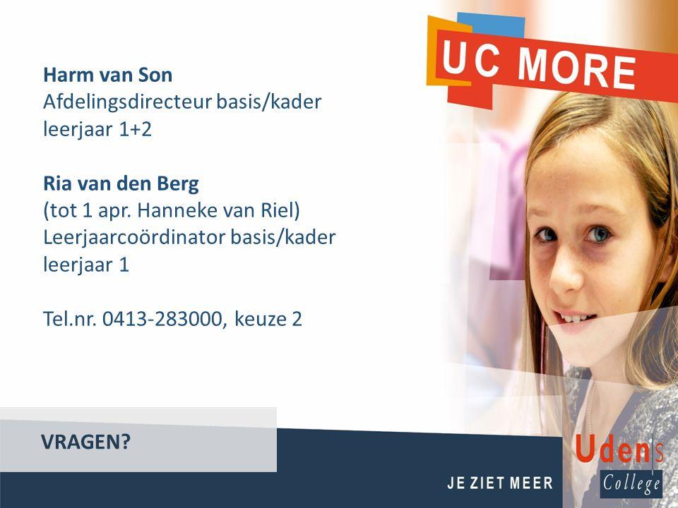 VRAGEN? Harm van Son Afdelingsdirecteur basis/kader leerjaar 1+2 Ria van den Berg (tot 1 apr. Hanneke van Riel) Leerjaarcoördinator basis/kader leerja