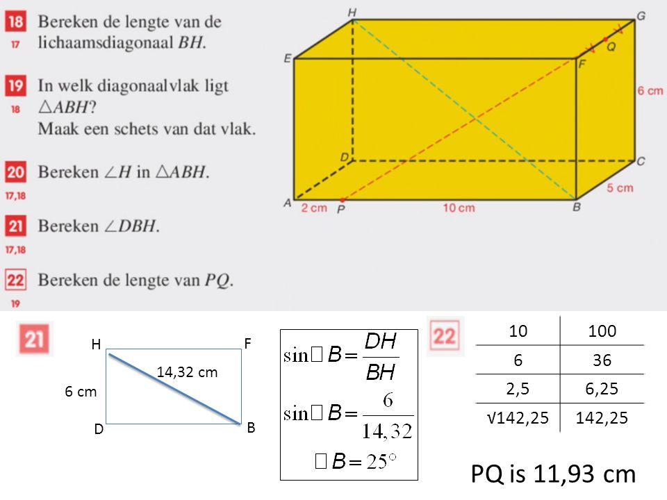 D B F H 6 cm 14,32 cm 10100 636 2,56,25 √142,25142,25 PQ is 11,93 cm