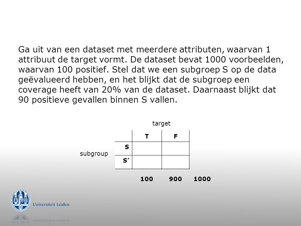 Ga uit van een dataset met meerdere attributen, waarvan 1 attribuut de target vormt.