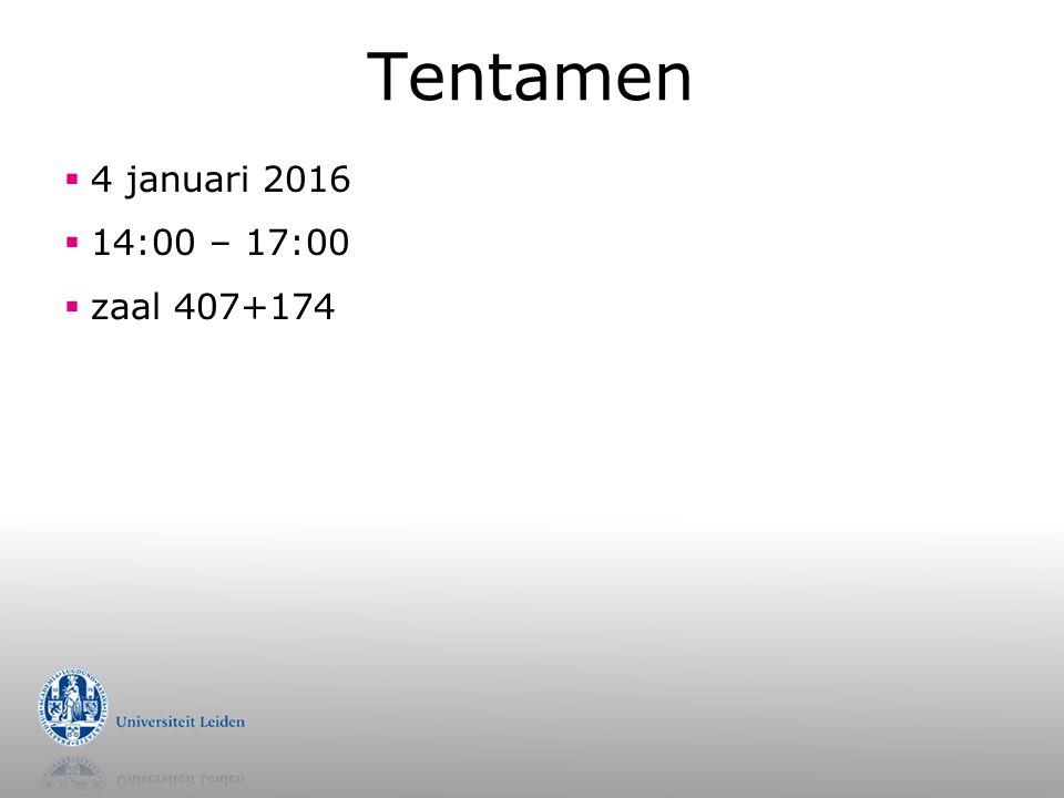 Tentamen  4 januari 2016  14:00 – 17:00  zaal 407+174