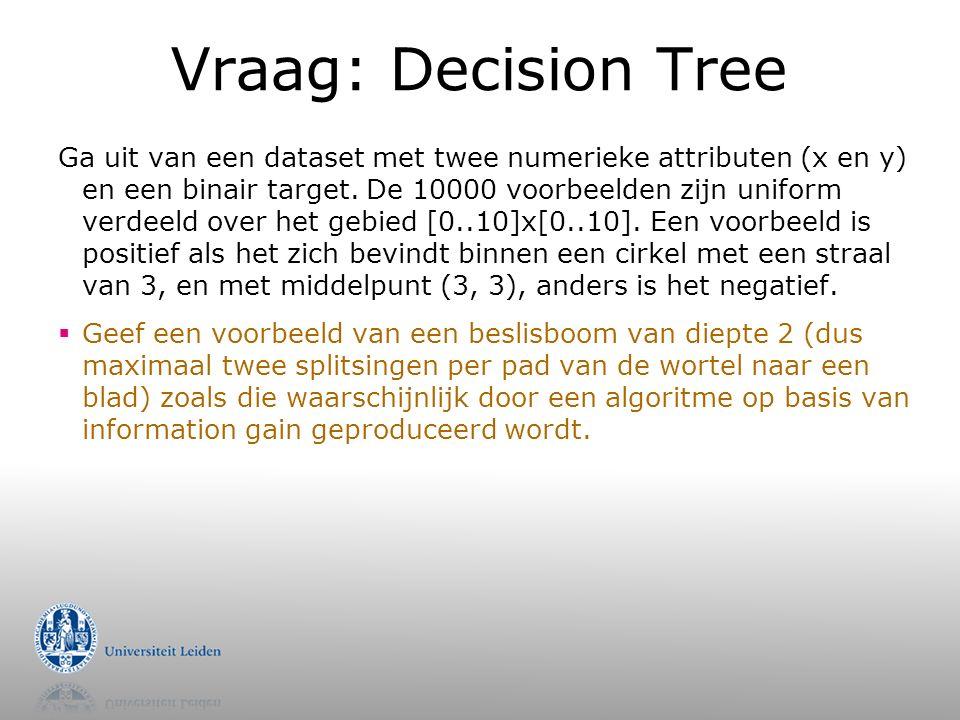 Vraag: Decision Tree Ga uit van een dataset met twee numerieke attributen (x en y) en een binair target.