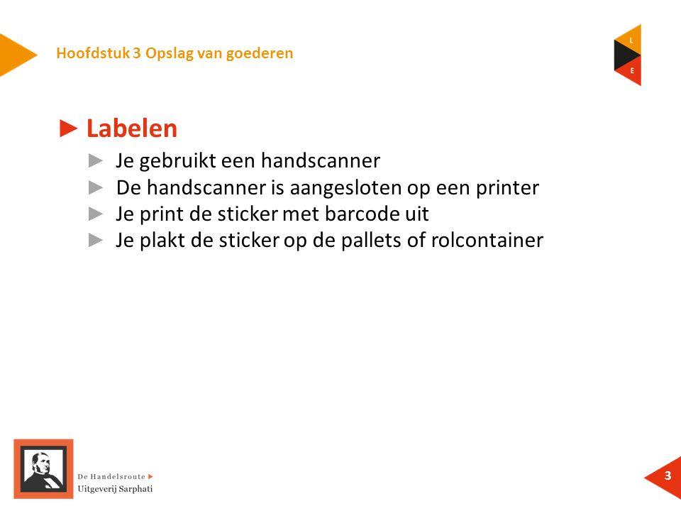3 ► Labelen ► Je gebruikt een handscanner ► De handscanner is aangesloten op een printer ► Je print de sticker met barcode uit ► Je plakt de sticker op de pallets of rolcontainer