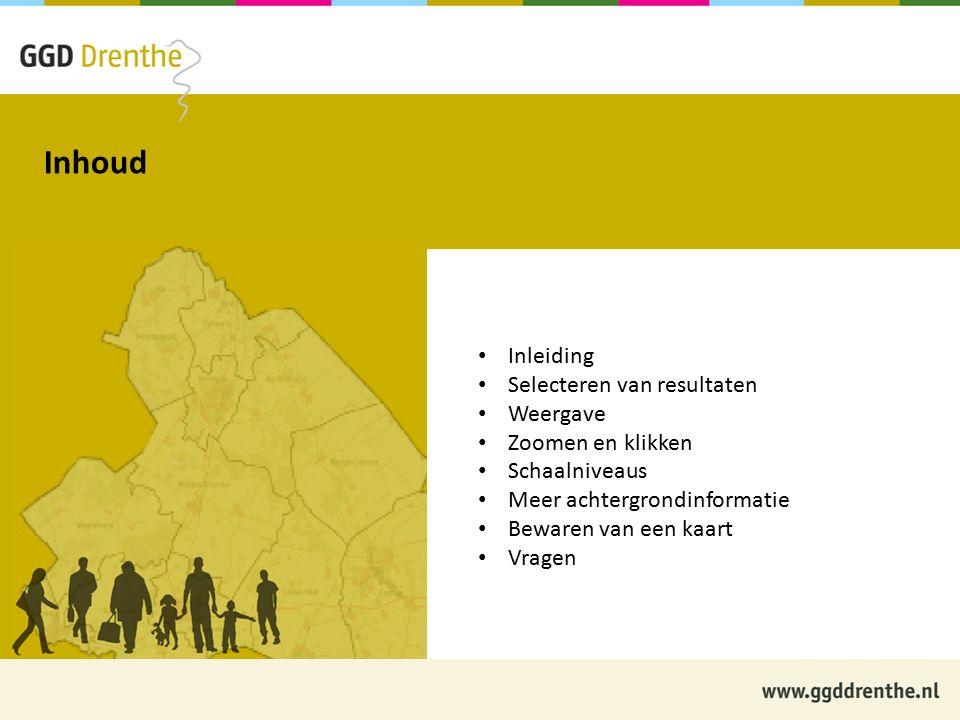 Informatie over de Kaart van GezondheidsGegevensDrenthe.nl Inleiding De Kaartfunctionaliteit van de website is tot stand gekomen in een samenwerkingsproject van GGD Drenthe en First Element BV Op de Kaart worden de resultaten van de monitor- onderzoeken van GGD Drenthe getoond Op korte termijn worden ook resultaten uit andere bronnen op de Kaart getoond