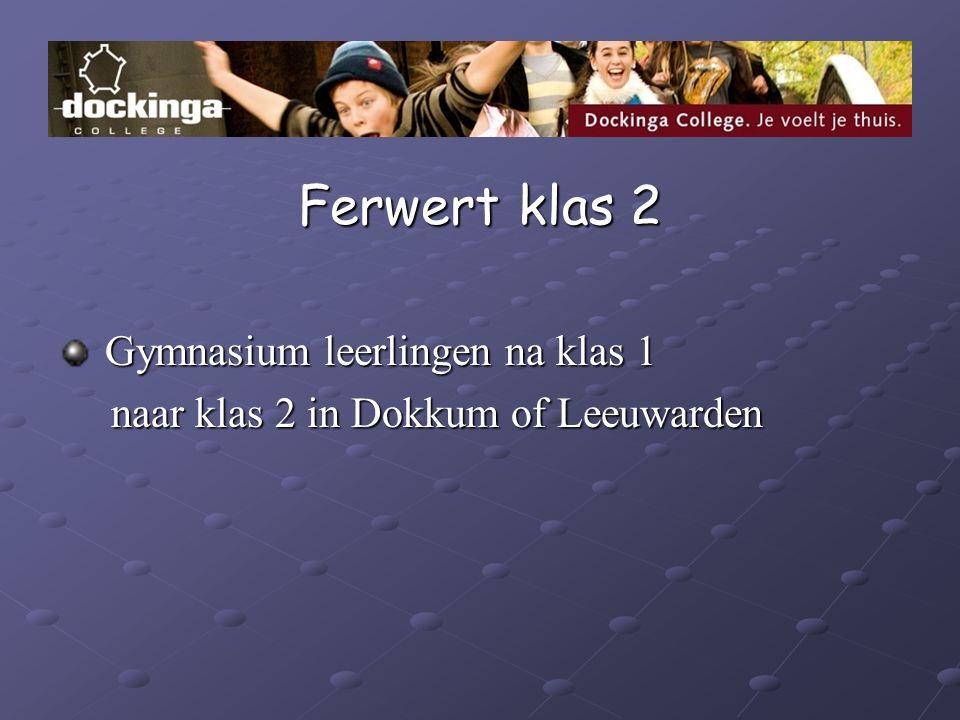 Ferwert klas 2 Gymnasium leerlingen na klas 1 Gymnasium leerlingen na klas 1 naar klas 2 in Dokkum of Leeuwarden naar klas 2 in Dokkum of Leeuwarden