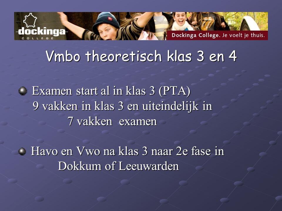 Vmbo theoretisch klas 3 en 4 Examen start al in klas 3 (PTA) Examen start al in klas 3 (PTA) 9 vakken in klas 3 en uiteindelijk in 9 vakken in klas 3