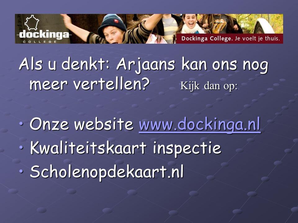 Als u denkt: Arjaans kan ons nog meer vertellen? Kijk dan op: Onze website www.dockinga.nlOnze website www.dockinga.nlwww.dockinga.nl Kwaliteitskaart