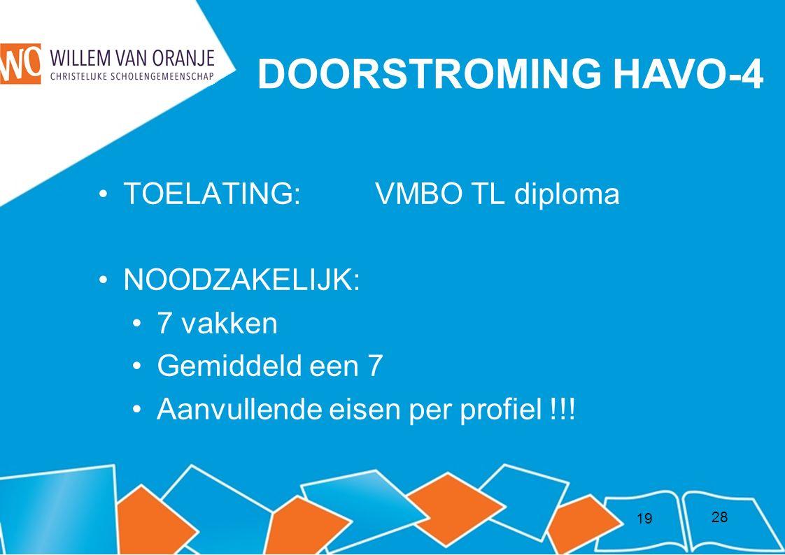 19 DOORSTROMING HAVO-4 TOELATING: VMBO TL diploma NOODZAKELIJK: 7 vakken Gemiddeld een 7 Aanvullende eisen per profiel !!.