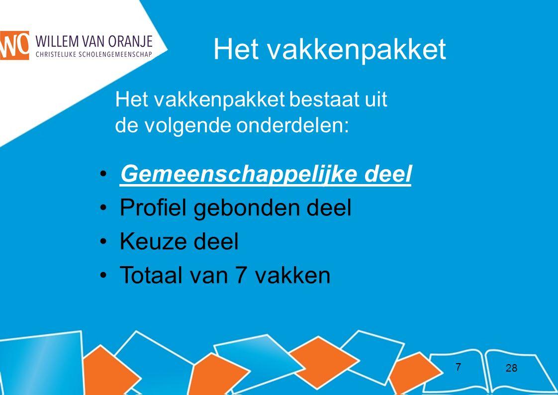 8 Nederlands Engels Bewegingsonderwijs Maatschappijleer * Kunstvakken-1* Gemeenschappelijke deel: 28
