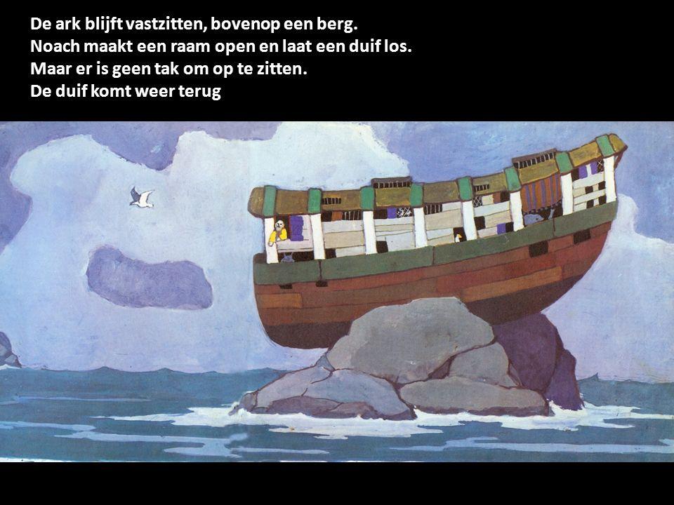 De ark blijft vastzitten, bovenop een berg.Noach maakt een raam open en laat een duif los.