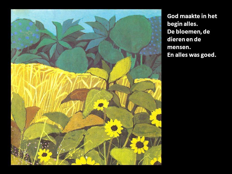 God maakte in het begin alles. De bloemen, de dieren en de mensen. En alles was goed.