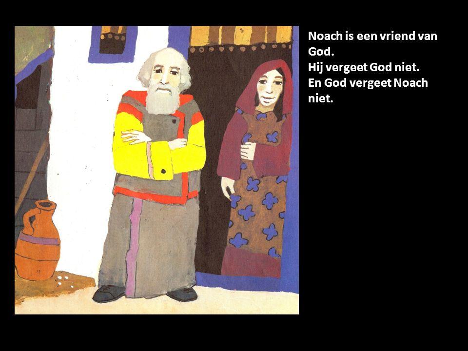 God zegt tegen Noach: Bouw een ark.Jou wil ik redden en ook je vrouw en kinderen.