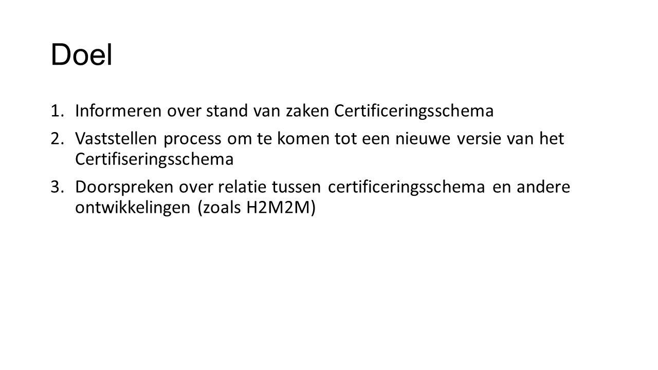 Doel 1.Informeren over stand van zaken Certificeringsschema 2.Vaststellen process om te komen tot een nieuwe versie van het Certifiseringsschema 3.Doo