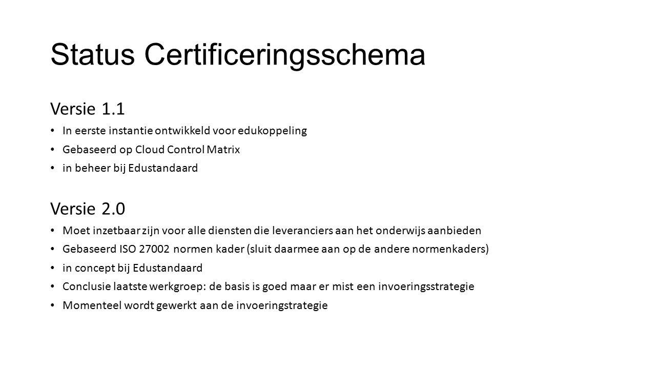 Status Certificeringsschema Versie 1.1 In eerste instantie ontwikkeld voor edukoppeling Gebaseerd op Cloud Control Matrix in beheer bij Edustandaard V