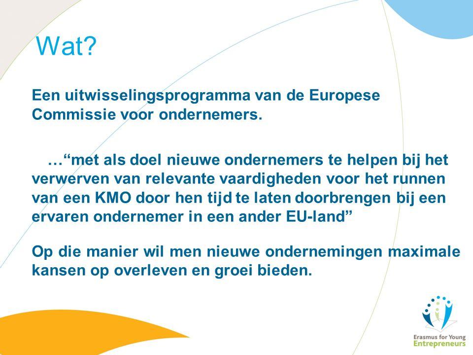 Wat. Een uitwisselingsprogramma van de Europese Commissie voor ondernemers.