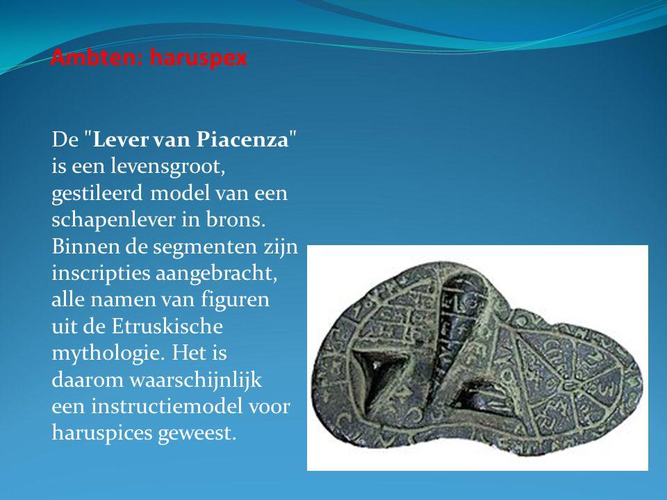 Ambten: haruspex De Lever van Piacenza is een levensgroot, gestileerd model van een schapenlever in brons.