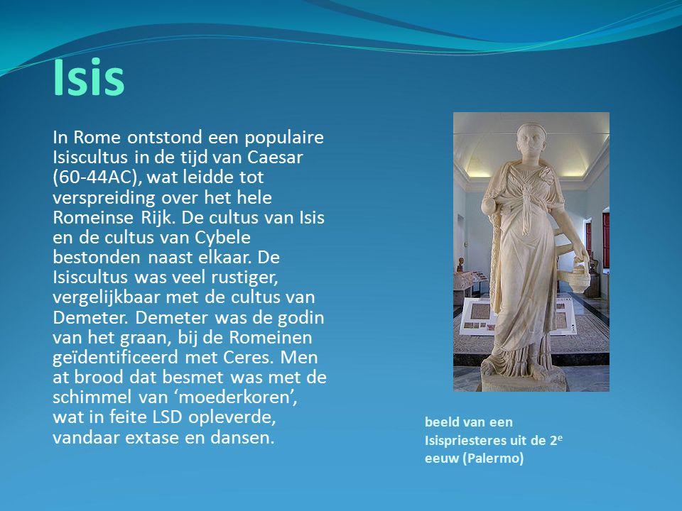 Isis In Rome ontstond een populaire Isiscultus in de tijd van Caesar (60-44AC), wat leidde tot verspreiding over het hele Romeinse Rijk.
