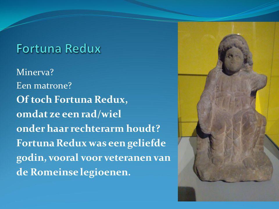 Minerva. Een matrone. Of toch Fortuna Redux, omdat ze een rad/wiel onder haar rechterarm houdt.