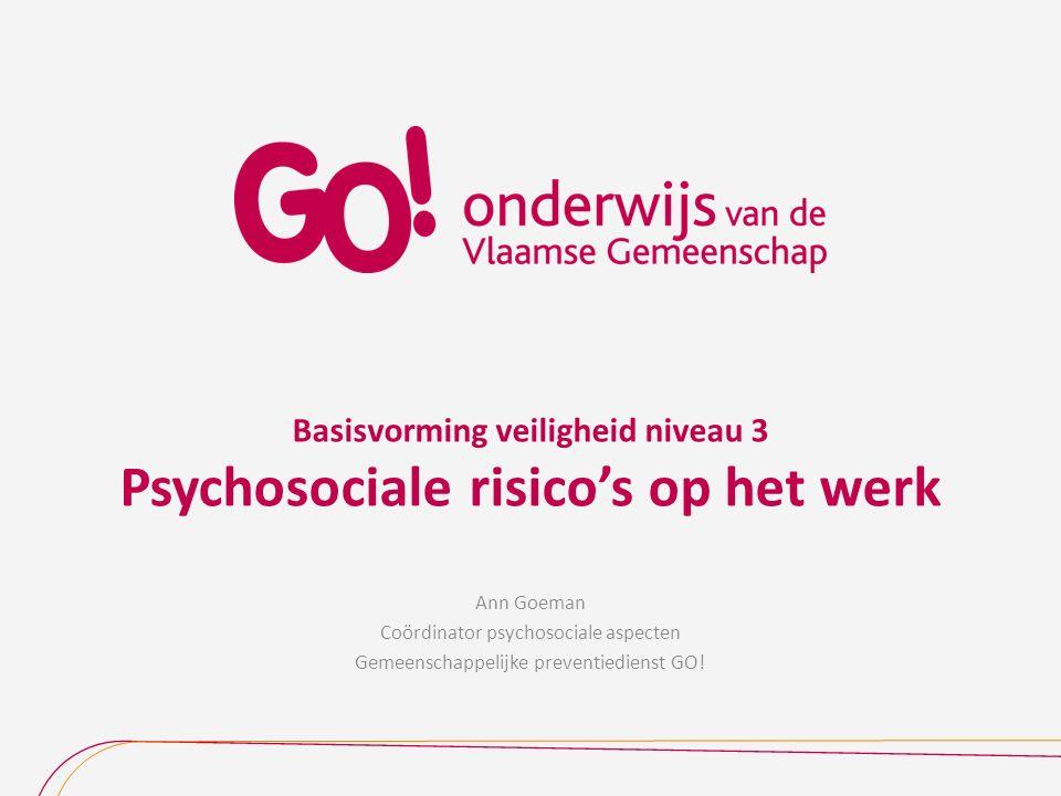 Basisvorming veiligheid niveau 3 Psychosociale risico's op het werk Ann Goeman Coördinator psychosociale aspecten Gemeenschappelijke preventiedienst G