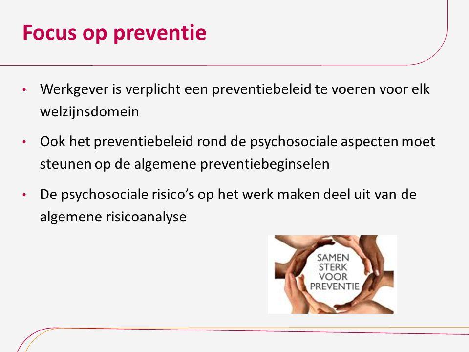 Focus op preventie Werkgever is verplicht een preventiebeleid te voeren voor elk welzijnsdomein Ook het preventiebeleid rond de psychosociale aspecten