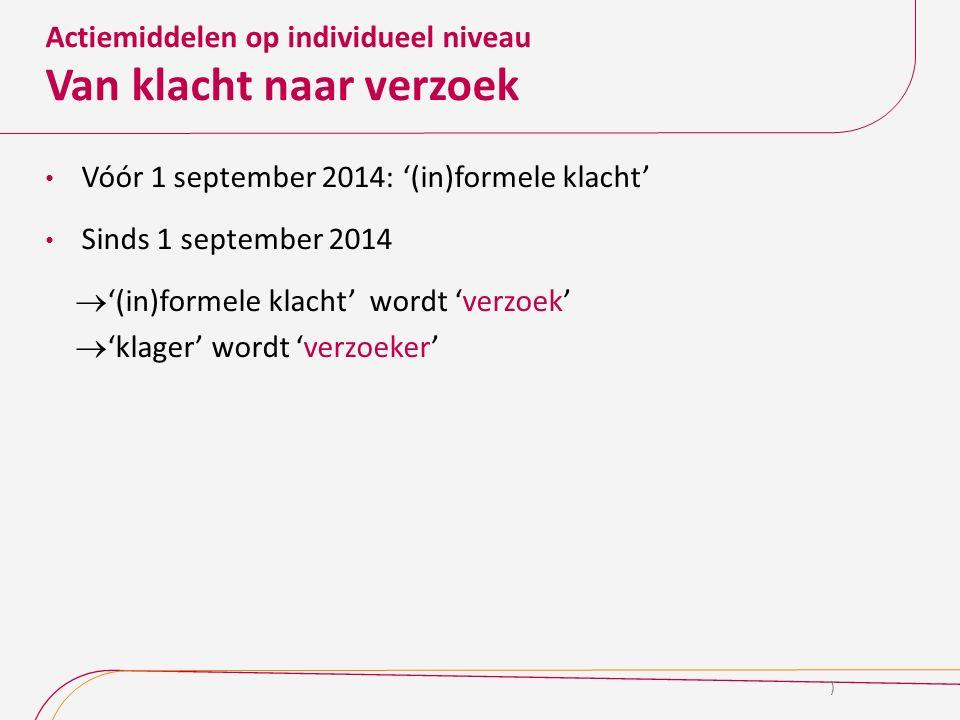 Actiemiddelen op individueel niveau Van klacht naar verzoek Vóór 1 september 2014: '(in)formele klacht' Sinds 1 september 2014  '(in)formele klacht'