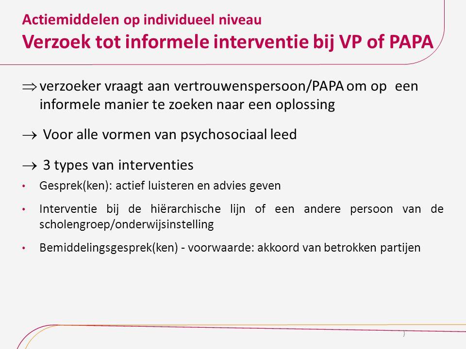 Actiemiddelen op individueel niveau Verzoek tot informele interventie bij VP of PAPA  verzoeker vraagt aan vertrouwenspersoon/PAPA om op een informel