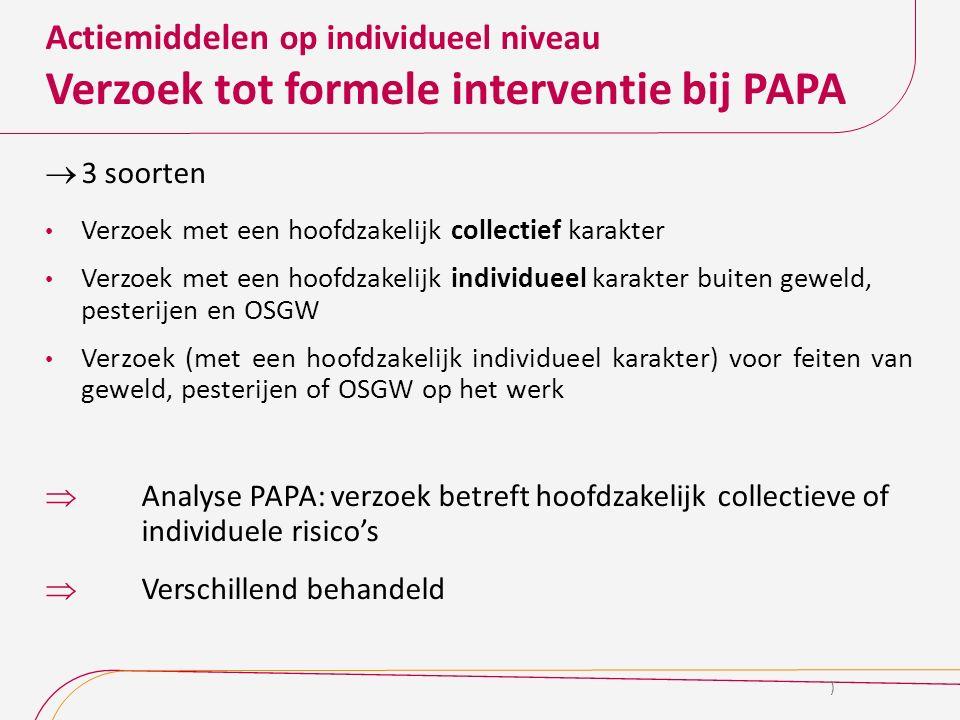 Actiemiddelen op individueel niveau Verzoek tot formele interventie bij PAPA  3 soorten Verzoek met een hoofdzakelijk collectief karakter Verzoek met