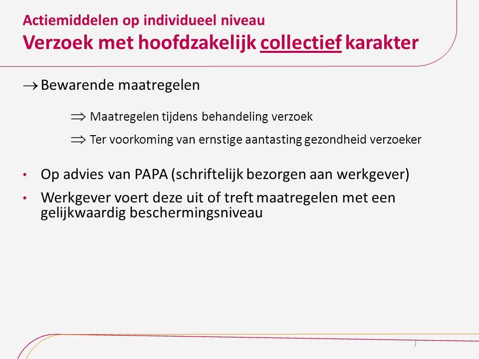 Actiemiddelen op individueel niveau Verzoek met hoofdzakelijk collectief karakter  Bewarende maatregelen  Maatregelen tijdens behandeling verzoek 