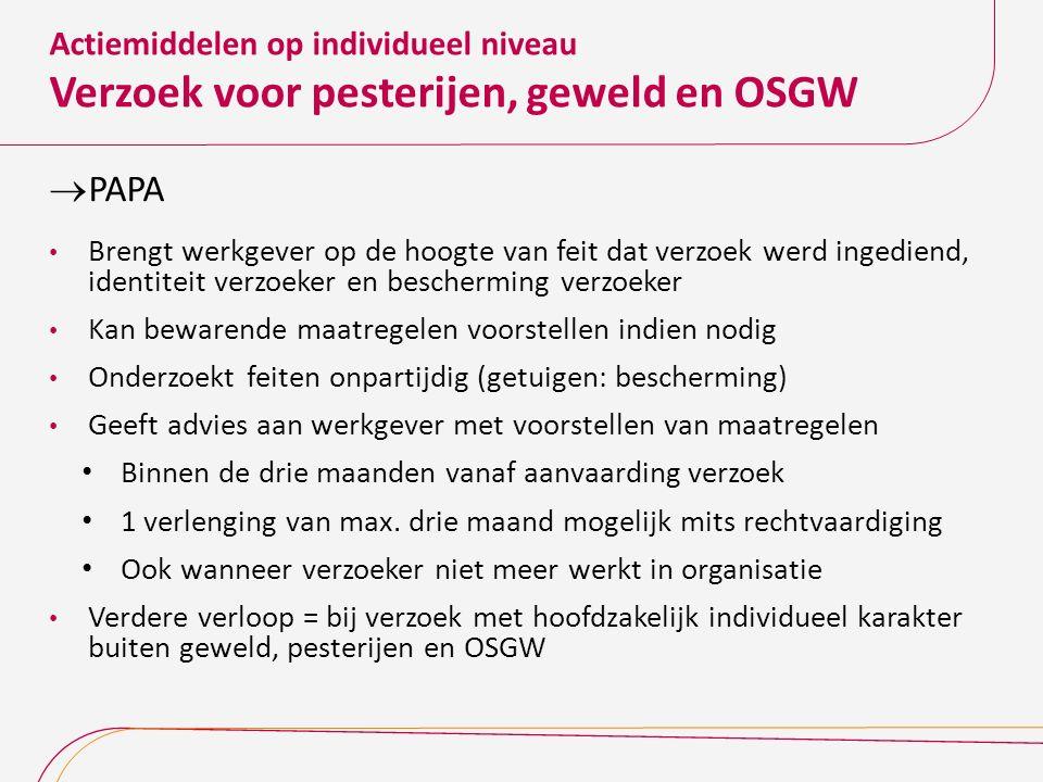 Actiemiddelen op individueel niveau Verzoek voor pesterijen, geweld en OSGW  PAPA Brengt werkgever op de hoogte van feit dat verzoek werd ingediend,