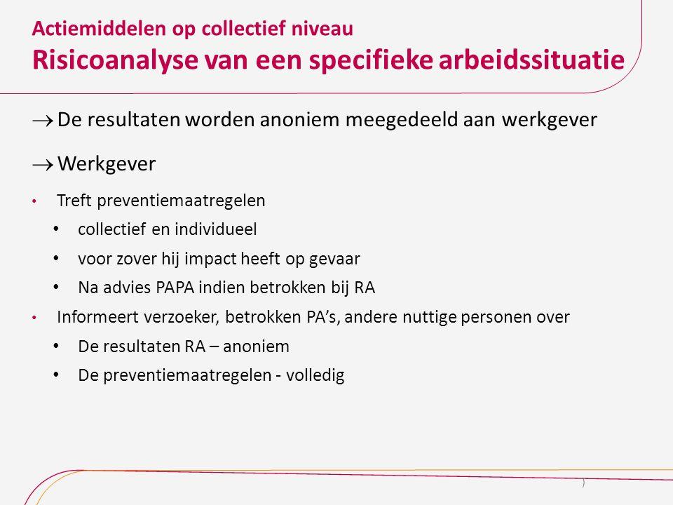 Actiemiddelen op collectief niveau Risicoanalyse van een specifieke arbeidssituatie  De resultaten worden anoniem meegedeeld aan werkgever  Werkgeve