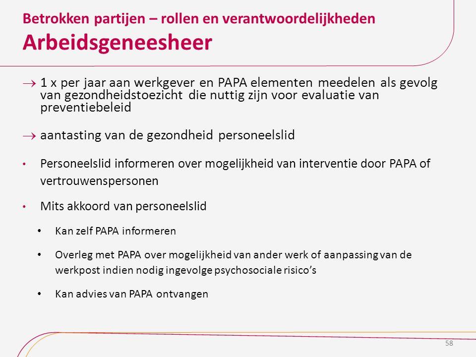 Betrokken partijen – rollen en verantwoordelijkheden Arbeidsgeneesheer  1 x per jaar aan werkgever en PAPA elementen meedelen als gevolg van gezondhe
