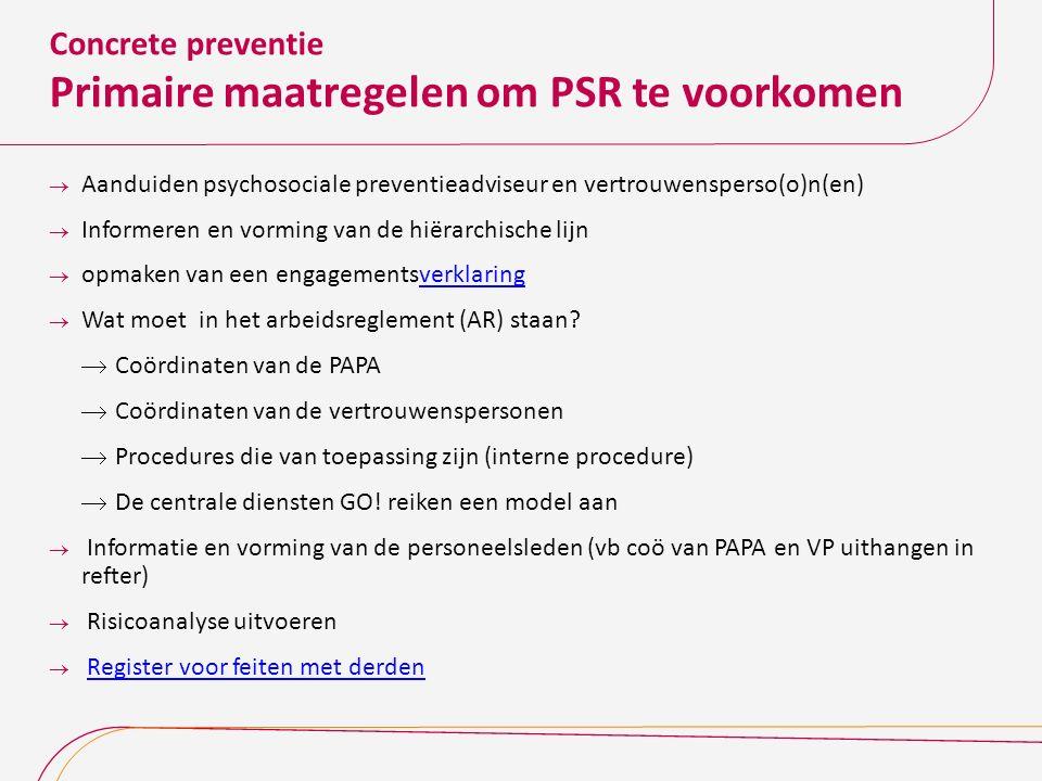 Concrete preventie Primaire maatregelen om PSR te voorkomen  Aanduiden psychosociale preventieadviseur en vertrouwensperso(o)n(en)  Informeren en vo