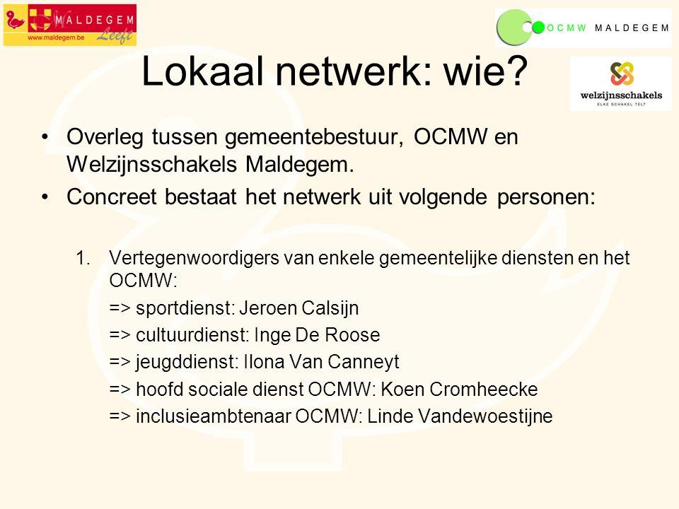 Lokaal netwerk: wie. Overleg tussen gemeentebestuur, OCMW en Welzijnsschakels Maldegem.