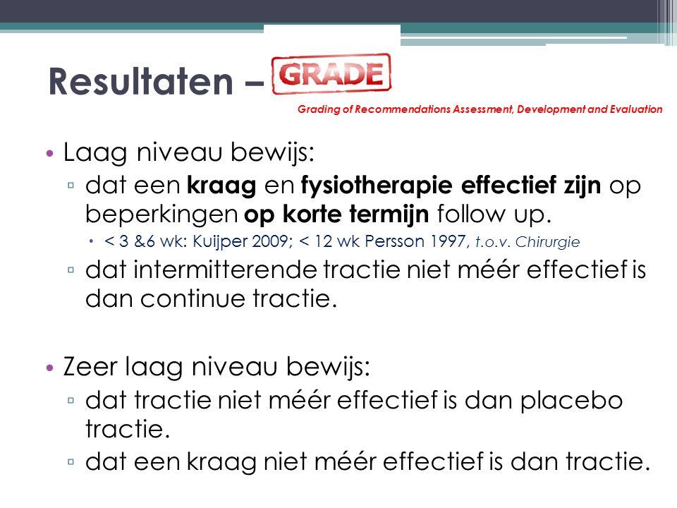 Resultaten – Laag niveau bewijs: ▫ dat een kraag en fysiotherapie effectief zijn op beperkingen op korte termijn follow up.  < 3 &6 wk: Kuijper 2009;
