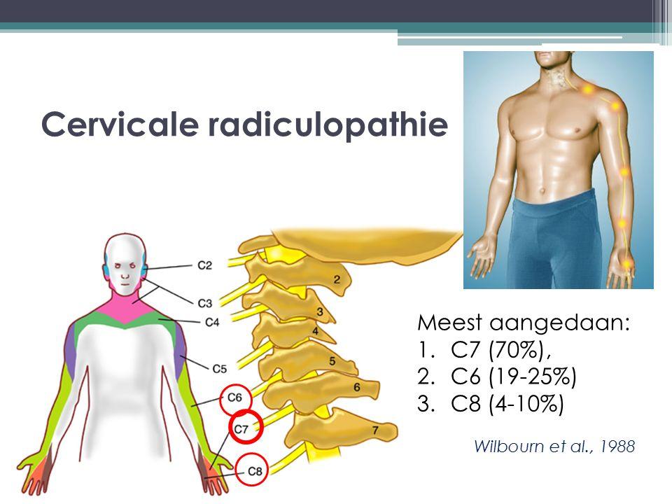 Cervicale radiculopathie Meest aangedaan: 1.C7 (70%), 2.C6 (19-25%) 3.C8 (4-10%) Wilbourn et al., 1988