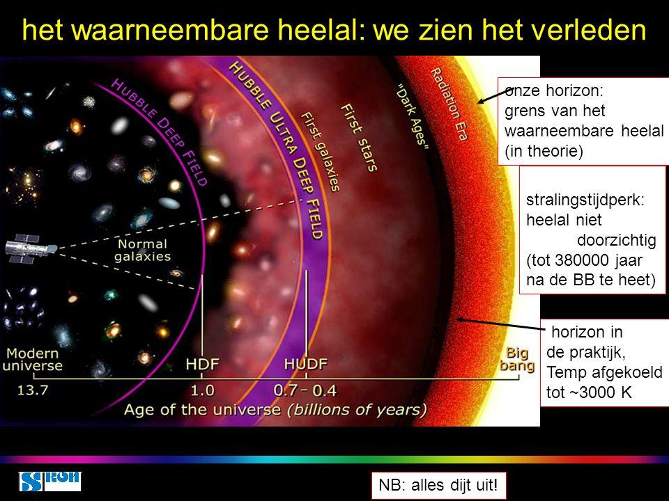 Space class 5 oct 2010 het waarneembare heelal: we zien het verleden onze horizon: grens van het waarneembare heelal (in theorie) stralingstijdperk: heelal niet doorzichtig (tot 380000 jaar na de BB te heet) horizon in de praktijk, Temp afgekoeld tot ~3000 K NB: alles dijt uit!