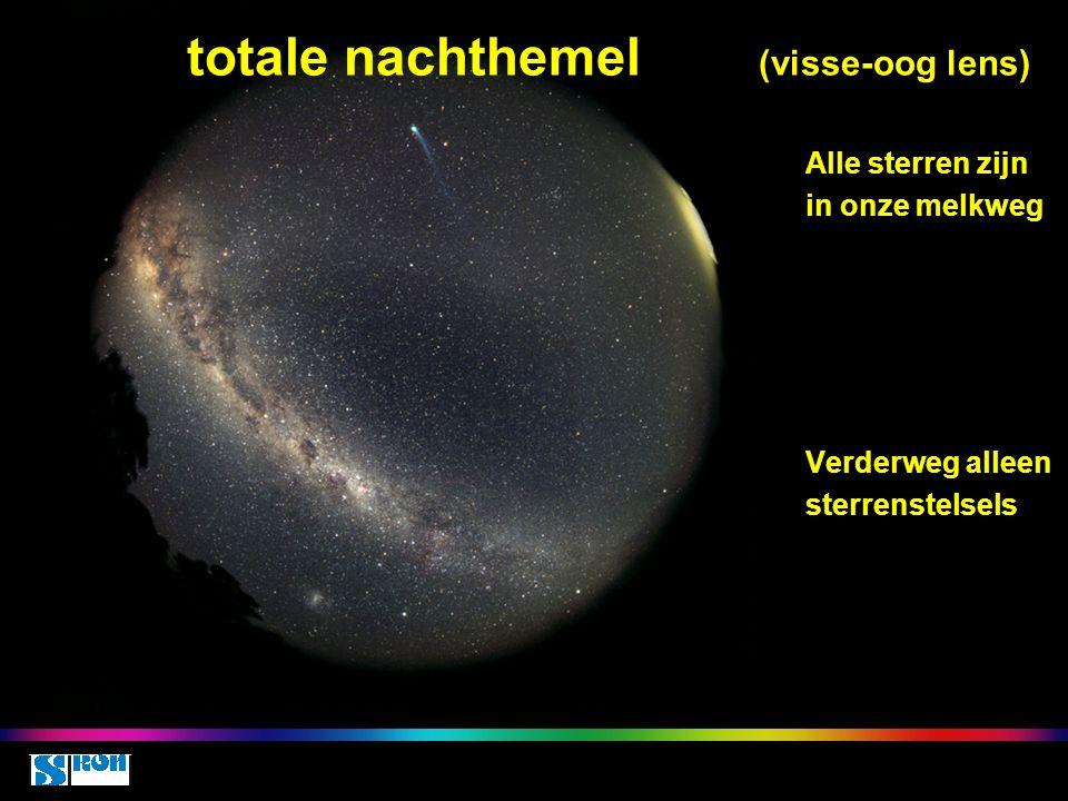 Space class 5 oct 2010 totale nachthemel (visse-oog lens) Alle sterren zijn in onze melkweg Verderweg alleen sterrenstelsels