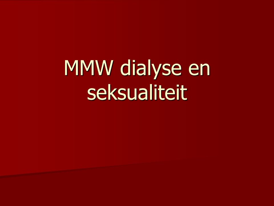 MMW dialyse en seksualiteit