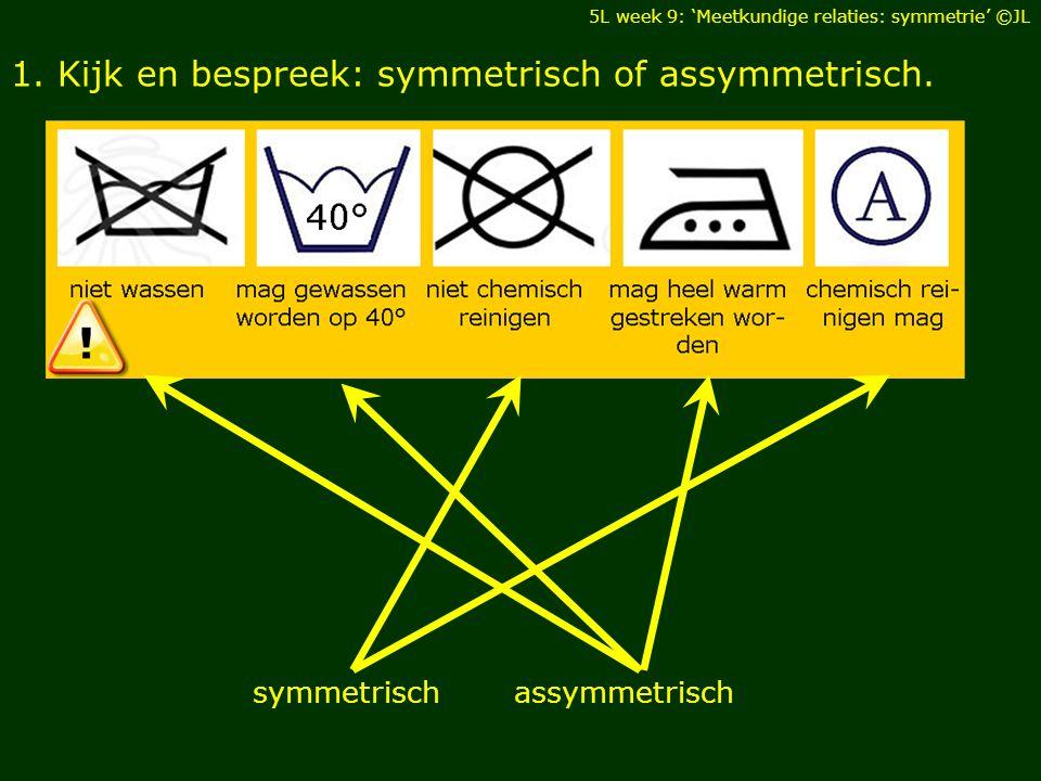 1. Kijk en bespreek: symmetrisch of assymmetrisch.